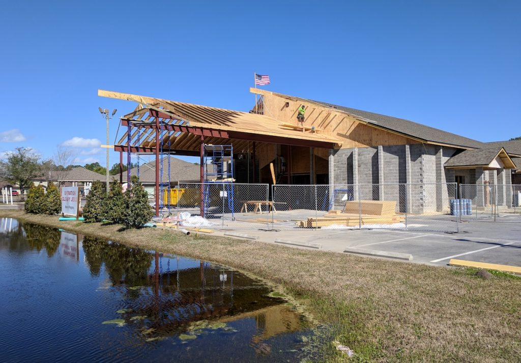 Front view of the structural steel in place at Emerald Coast Fellowship in Lynn Haven, Florida