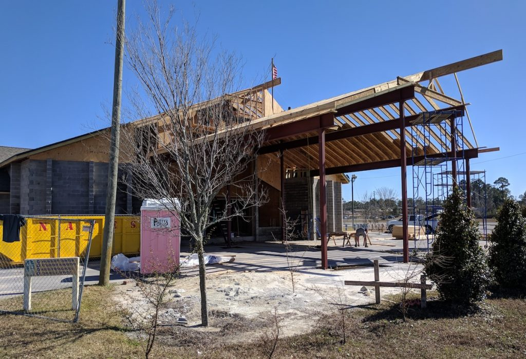 Side view of the structural steel in place at Emerald Coast Fellowship in Lynn Haven, Florida