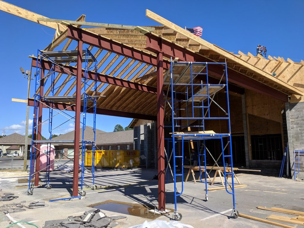 Close-up view of the structural steel in place at Emerald Coast Fellowship in Lynn Haven, Florida
