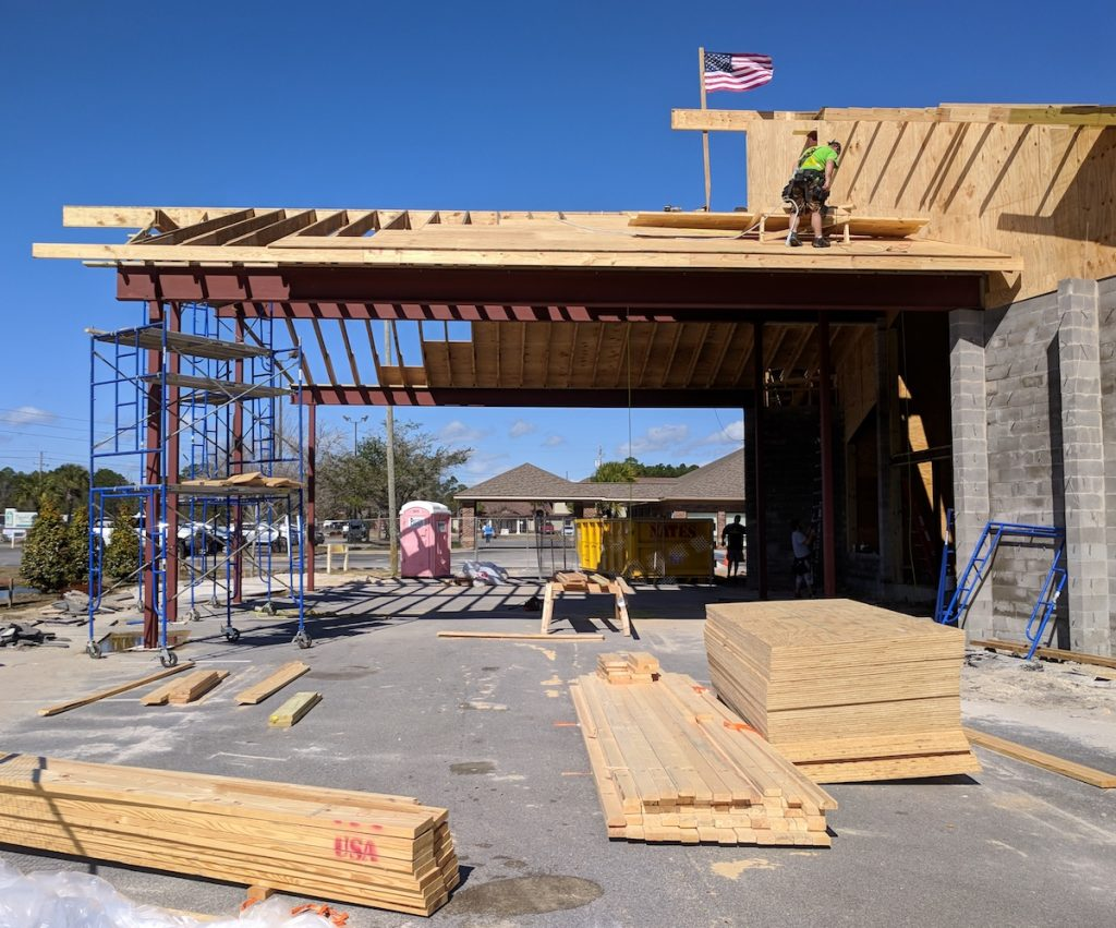 Close-up side view of the structural steel in place at Emerald Coast Fellowship in Lynn Haven, Florida