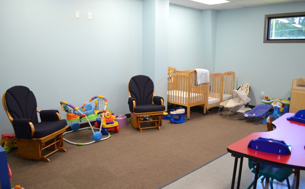Baby cribs and rocking chairs at First Baptist Church Lynn Haven